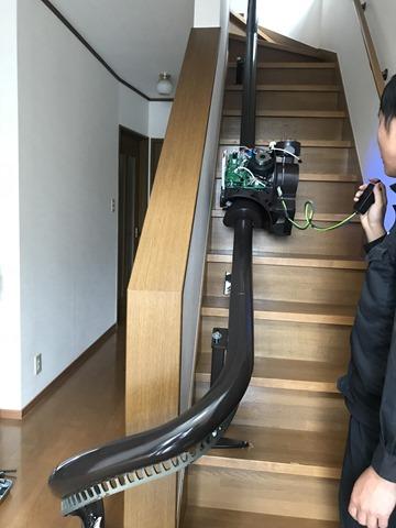 椅子式階段昇降機の試運転